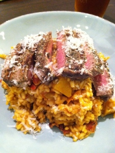 Butternut Squash Risotto with Steak